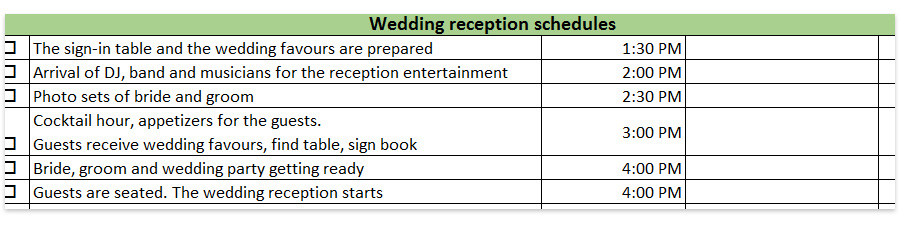 timelines for weddings