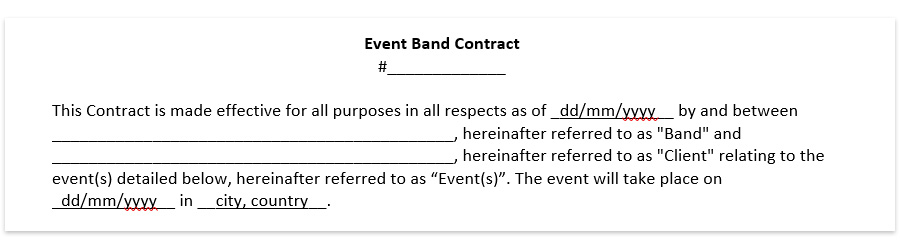 Wedding Band Contract Template Wedding Dj Contract Download