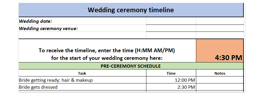 wedding ceremony timeline