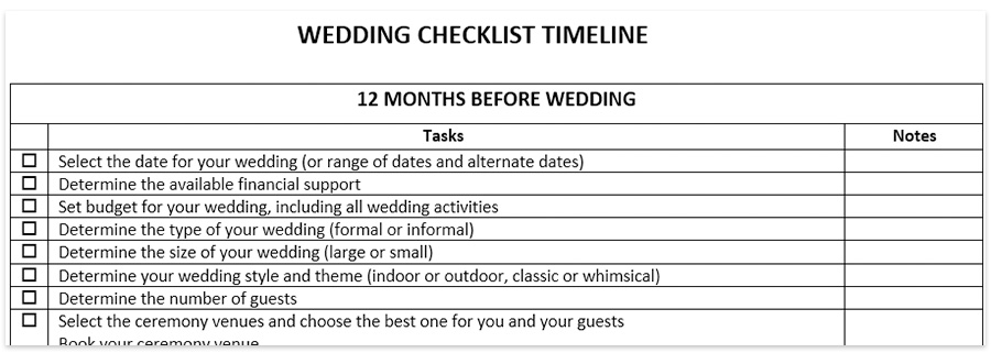 wedding checklist timeline