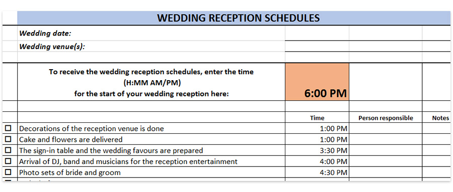 wedding reception schedules