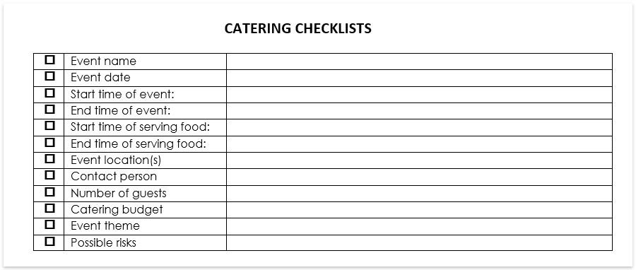 catering checklists catering forms template free download