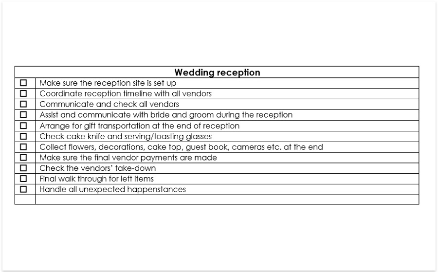 day of wedding coordinator checklist pdf