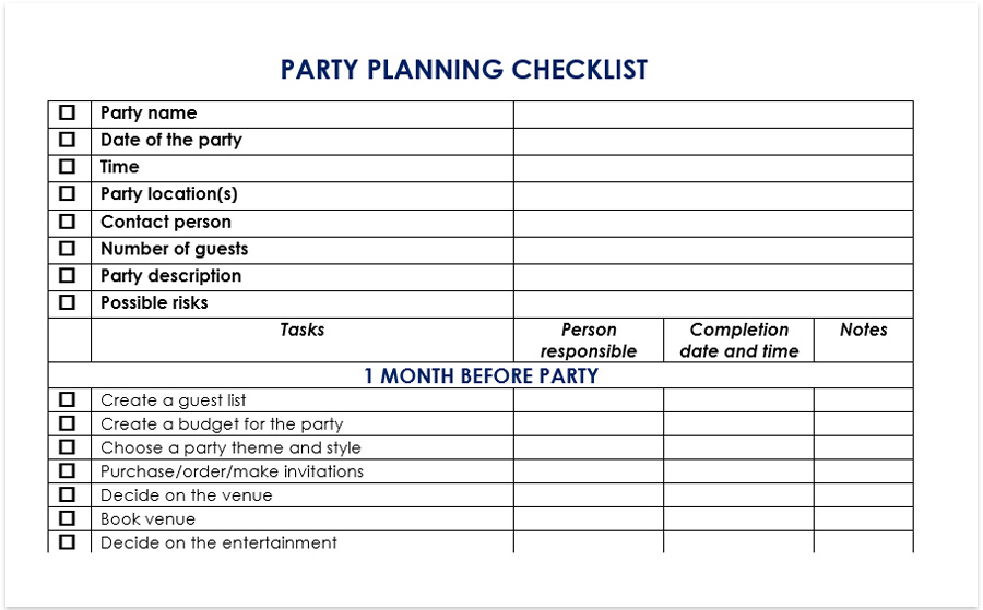 Party Planning Checklist Is Extremely Useful If You Are A Private Event And Want To Keep On Track Every Task Of The Process