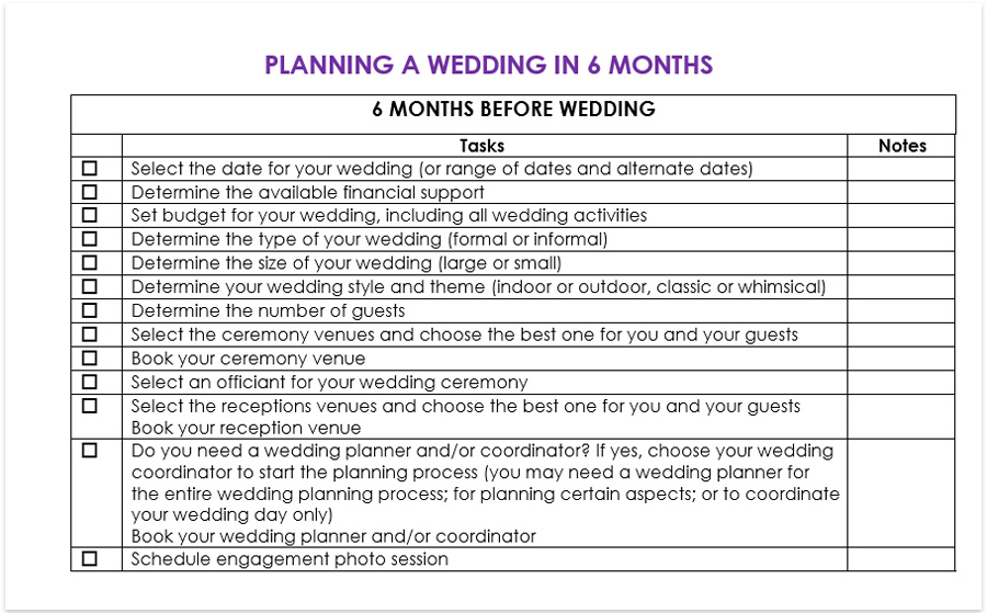 planning a wedding in 6 months