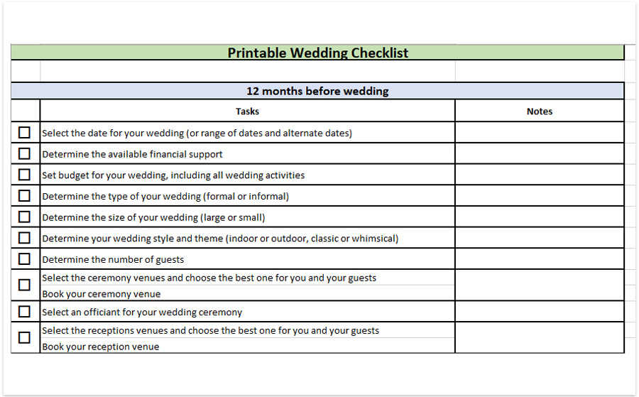 wedding checklist printable