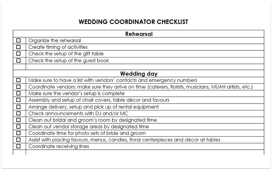 A Wedding Coordinator Checklist Is Document Which Makes The Running Of Day Stress Free And Helps To Keep All Tasks Under Control