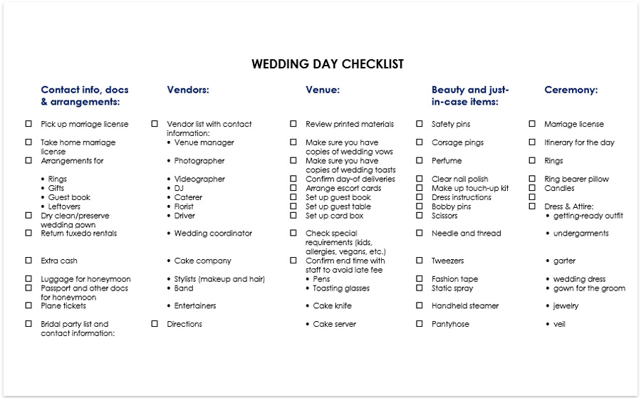 wedding day checklist free pdf download day of wedding checklist
