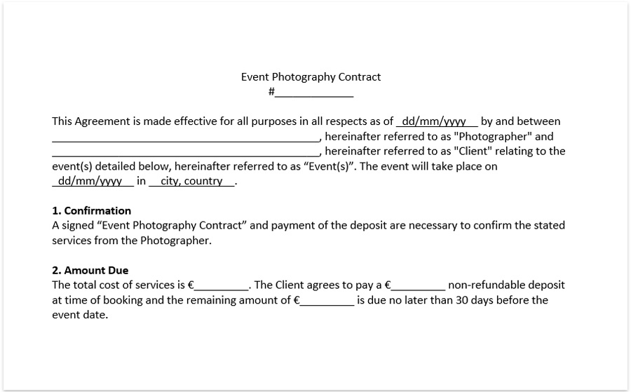 wedding photography contract template