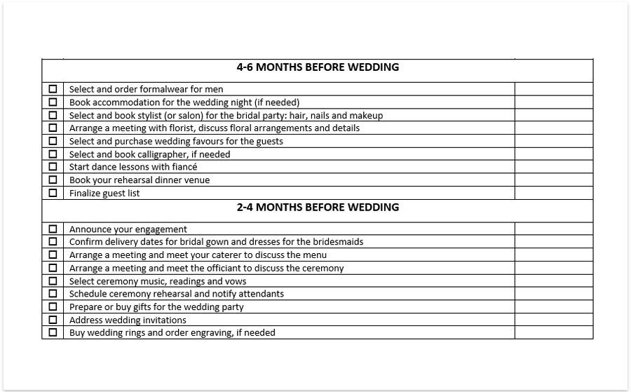 wedding planning checklist pdf
