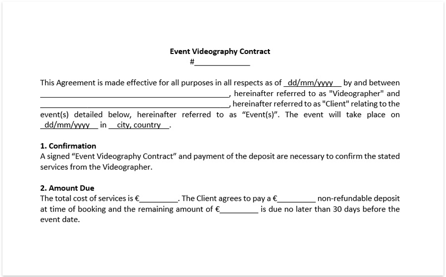 wedding video contract template for wedding videographer download free. Black Bedroom Furniture Sets. Home Design Ideas
