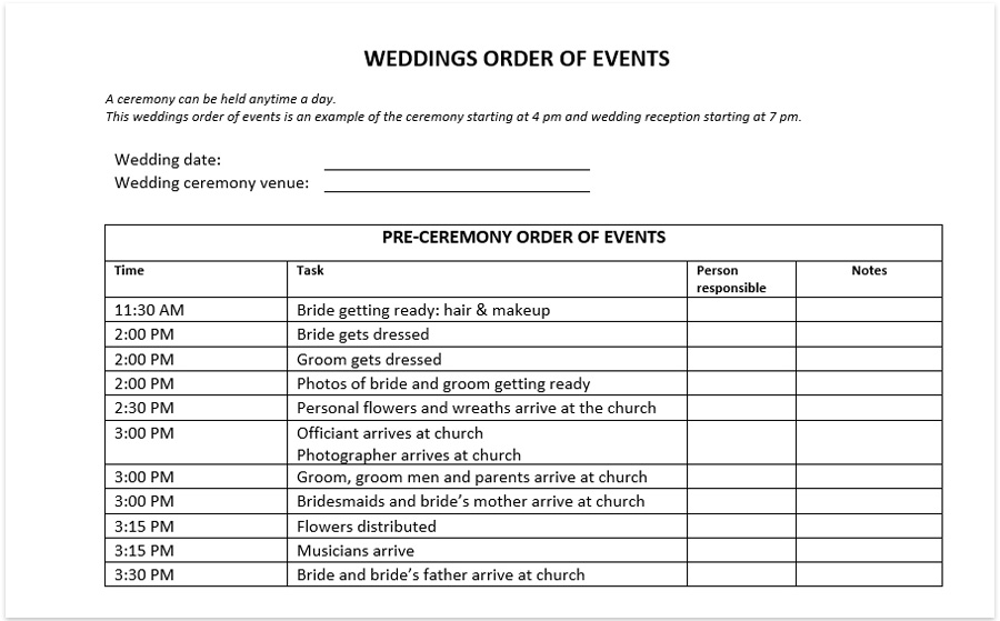 weddings order of events